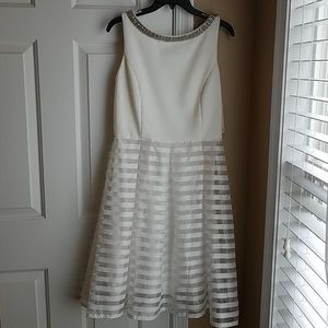 SD Collection Fit and Flare White Dress